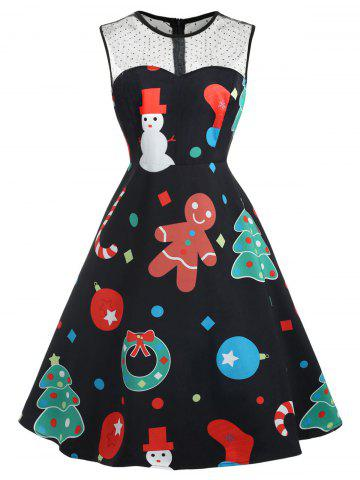 Plus Size Vintage Christmas Graphic Dress with Mesh