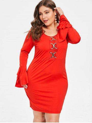 Plus Size Flare Sleeve Mini Tight Dress