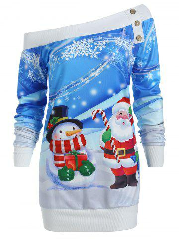 Santa Snowman Print Off Shoulder Christmas Sweatshirt