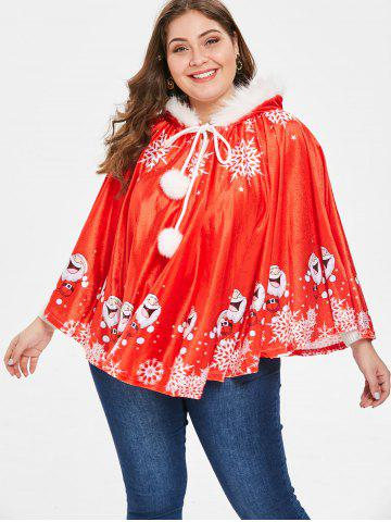 Plus Size Christmas Hooded Cape Coat with Faux Fur