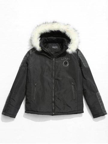 Applique Faux Fur Hoodie PU Parka Coat