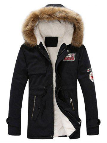 Faux Fur Hood Appliques Fluffy Lined Jacket