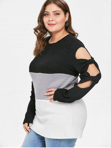 Plus Size Color Block Cutout Tee with Bowknots