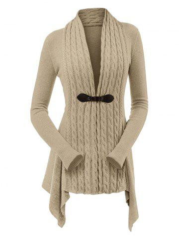 Cable Knit Asymmetrical Long Cardigan - LIGHT KHAKI - XL