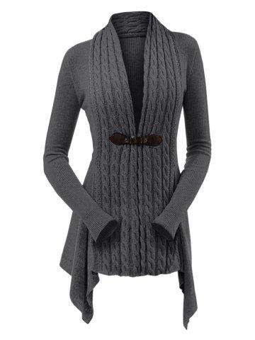 Cable Knit Asymmetrical Long Cardigan - DARK GRAY - M