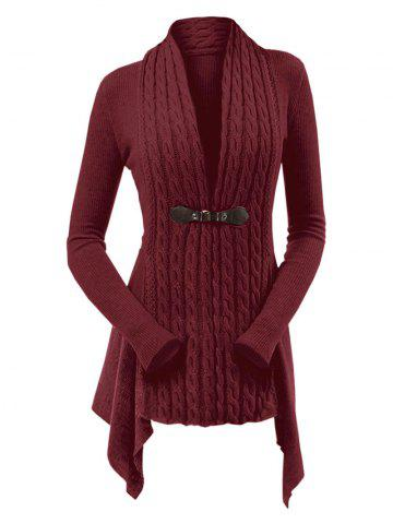 Cable Knit Asymmetrical Long Cardigan - RED WINE - XL