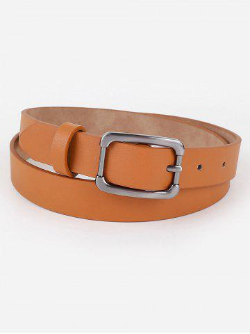 Simple Metal Buckle Faux Leather Belt