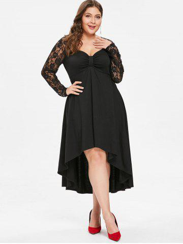 Plus Size Lace Sleeve Knot Neck High Low Hem Dress