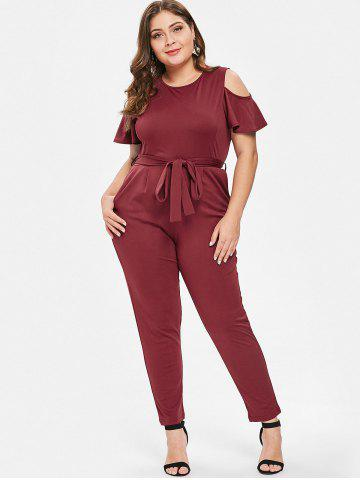 73416e8bbd2 Cold Shoulder Round Neck Plus Size Jumpsuit · Cold Shoulder Round Neck Plus  Size Jumpsuit - RED WINE ...