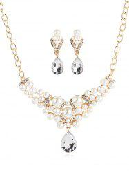 Artificial Pearl Rhinestone Embellished Necklace Earrings Set -