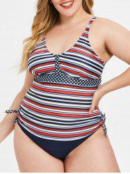 Back Cut Out Plus Size Striped Tankini Set -