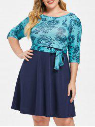 Round Neck Plus Size Printed A Line Dress -