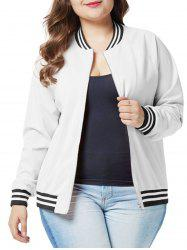 Plus Size Raglan Sleeves Zipper Fly Jacket -