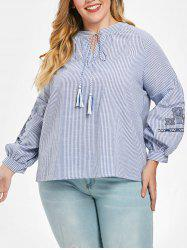 Plus Size High Low Embroidered Striped Top -