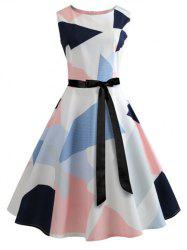 Vintage Geometrical Fit and Flare Dress -
