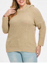 Drop Shoulder Plus Size High Low Sweater -