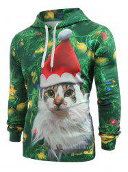 Cat with Christmas Hat Baubles Printed Casual Hoodie -