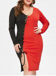 Plus Size Lace Up Contrast Bodycon Dress -