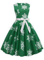 Christmas Snowflake Print Belted A Line Dress -