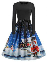 Plus Size Vintage Christmas Printed Flare Dress -