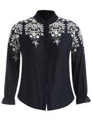 Plus Size Contrast Floral Embroidered Shirt -