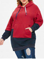 Drawstring Plus Size Color Block Tunic Hoodie -