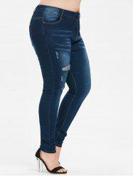 Plus Size Cut Out Ripped Jeans -