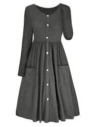 Long Sleeve A-line Button Front Dress -