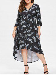 V Neck Plus Size Printed High Low Dress -