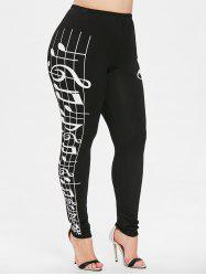 Plus Size Musical Notes Print High Waist Leggings -