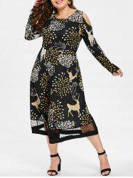Plus Size Cold Shoulder Printed Midi Christmas Dress -