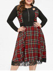 Plus Size Tartan Cut Out Midi Flare Dress -