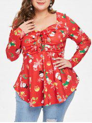 Christmas Plus Size Printed Lace Up Handkerchief Tee -