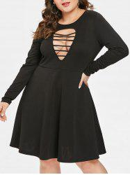 Plus Size  Ladder Cut Out Flare Dress -