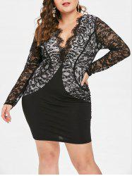 Plus Size Plunging Neckline Lace Insert Dress -