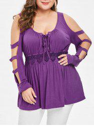 Plus Size Lattice Lace Panel Peplum Top -