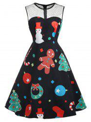 Plus Size Vintage Christmas Graphic Dress with Mesh -