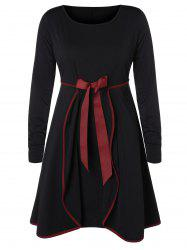 Plus Size Bowknot Overlay A Line Dress -