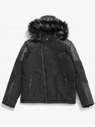 Faux Fur Hoodie Zipper Patchwork Parka Coat -