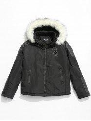 Applique Faux Fur Hoodie PU Parka Coat -