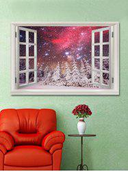 Galaxy Snow Forest Scenery Printed Wall Sticker -