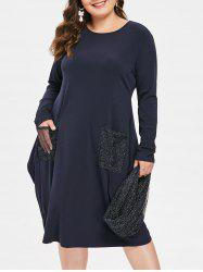 Front Pockets Plus Size Knee Length Dress with Scarf -