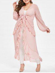 Plus Size Sheer High Low Flounced Maxi Blouse -