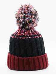 Winter Knitting Fuzzy Ball Beanie -