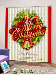 2Pcs Christmas Letter and Bells Window Curtains -