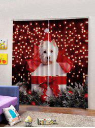 2Pcs Christmas Gift and Dog Window Curtains -