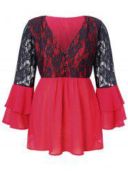 Plus Size Lace Splicing Multilayer Flare Sleeve Blouse -