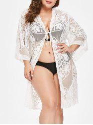 Three Quarter Sleeve Lace Plus Size Cover Up -