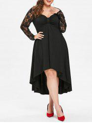 Plus Size Lace Sleeve Knot Neck High Low Hem Dress -