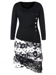 Plus Size Side Buttons High Low T-shirt -